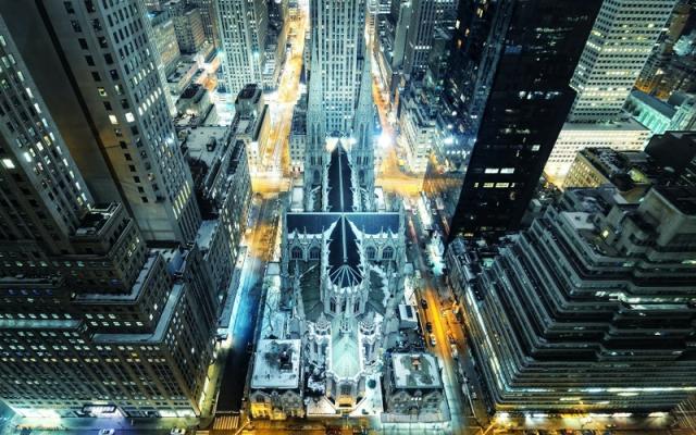Well, a beautiful city illuminated. Technology creates art...