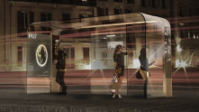 Information in bus shelters may one day be shown on a touch screen, set into a glass panel that is translucent, durable, & elegant