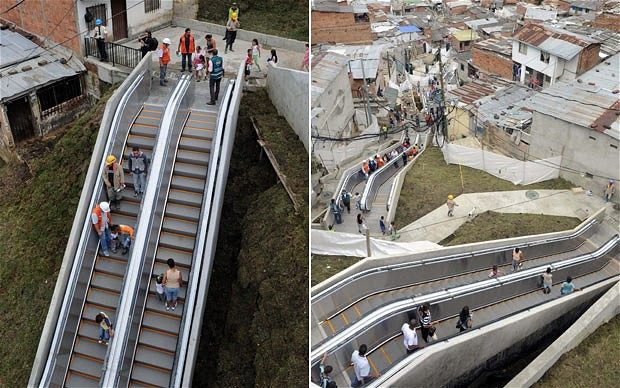 Outdoor escalator in Columbia to cut walking commute in city w/ poor public transport - http://bit.ly/12ssgcC