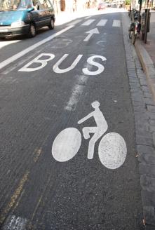 Sharing the road.  Bus/Bike