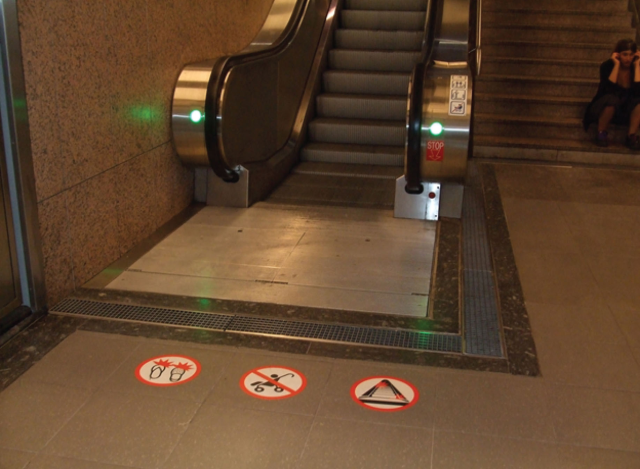 Escalators help move people through the Metro Station in Toulouse, France.
