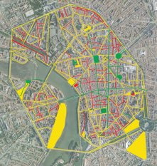 "I created this map of ""Access"" in Toulouse, France.  The red, is completely inaccessible, yellow is ok, and green is accessible."