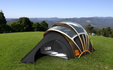 A solar powered tent that recharges portable devices and broadcasts a Wi-Fi signal.