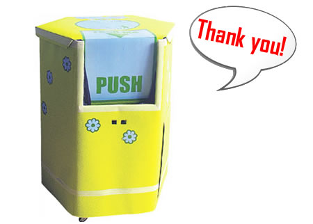 Interactive bin ,this bin moves around the crowd and asks for the collection and thanks people.  