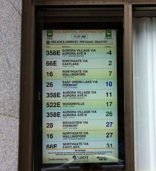 Some of Seattle's bus stop schedules. It's brilliant, as transit opens data, someone writes a mobile app, and then transit uses that app.
