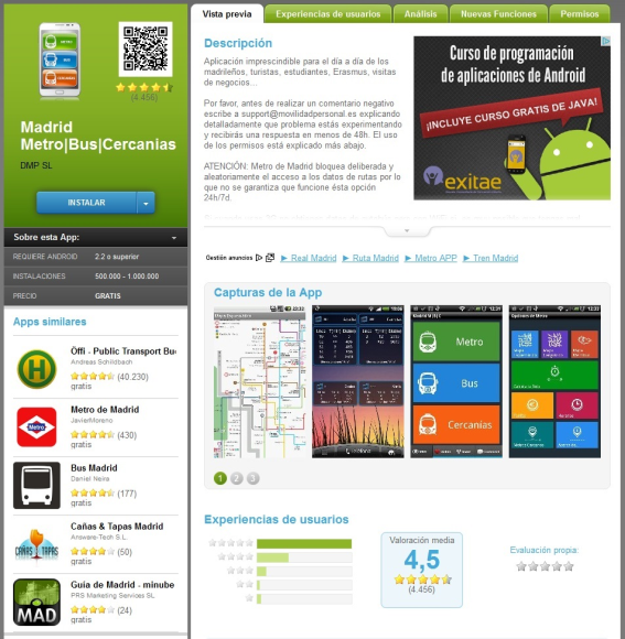 Madrid Metro/Bus/Cercanias app. Android app that helps Madrid(Spain)citizen's to know timeout of public transportation