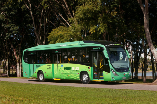 In Curitiba, there is a new bus with renewable sources as gas.