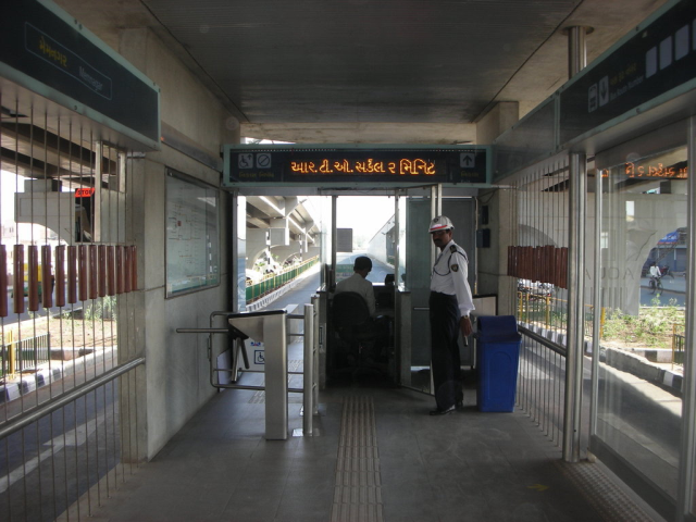 Preboard ticketing system in Ahmedabad BRT in India....