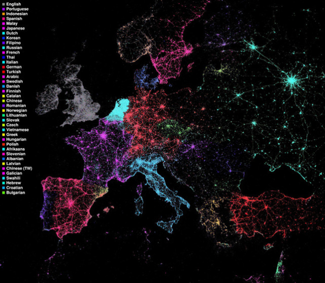 This map is quite intriguing to me.  It details how language is used in technology (twitter) over a geographic area.