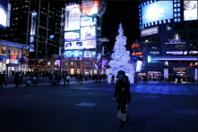 Toronto's famous Younge and Dundas Square. <br/><br/>Advertisements and information in high volumes (online and in real time). Taken in 2010.