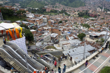 Outdoors escalators in a slum in Medellín, Colombia. The escalators seeks to solve the mobility problems of people who live on this hillside