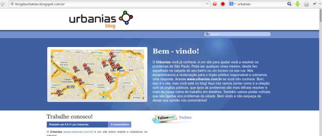 http://blogdourbanias.blogspot.com.br/ This blog intends to solve some urban problems (of São Paulo) through collective collaboration.