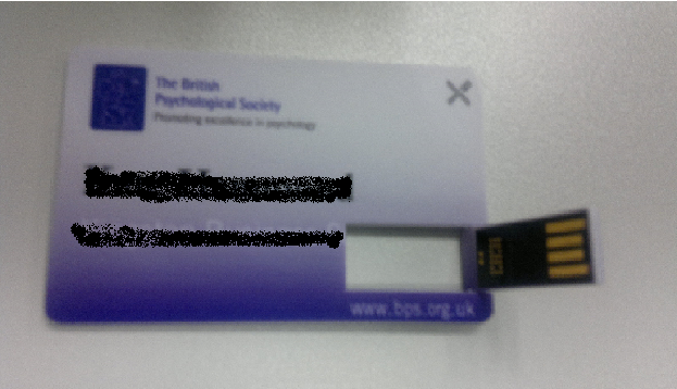 Instead of printed conference proceedings or CDs, this year the British Psychological Society issues this ID/Memory card. Green technology?