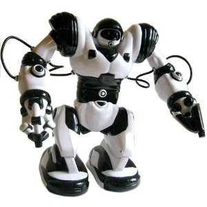"This a family robot so called ""robosapien"" I call him ""dude"". It let´s you interact with him and can take things and give it to u"