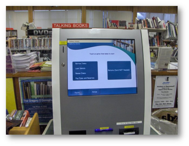 eLibrarian machine in local public library.  Public can return, renew and pay overdue fines on the machine.