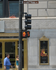 "Countdown clocks are triggered when a car is stopped at a light or when ppl want to cross(help reduce accidents) http://youtu.be/ItMK<wbr/><span class=""wbr""></span>KWxmKKQ"