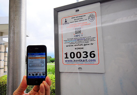 In Turkey Izmir QR Codes are being used for bus stops too. You can scan to find out how many stops left for the bus you're waiting for.