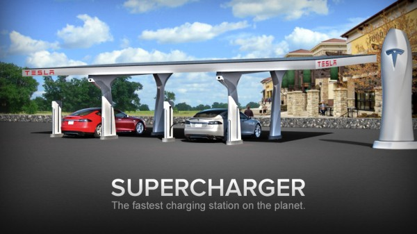 One of TESLA's charging stations they're rolling out across wht West coast - 300 miles of power for free/charge. A full tank in 30 mins.