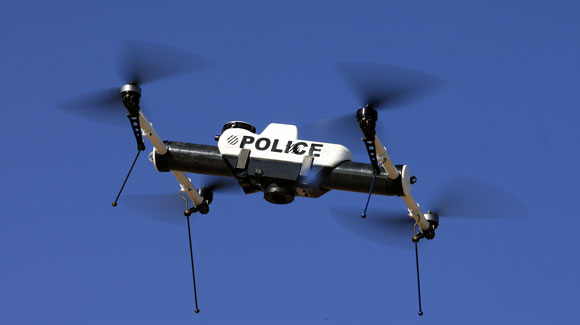 Aerial police drones are being deployed in major cities. They're not prevalent now, but the LAPD has used one to monitor desert drug deals.
