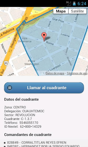 "Mi policia app: as it detects in which ""sector"" you are, youcan make a call to the closest police station."