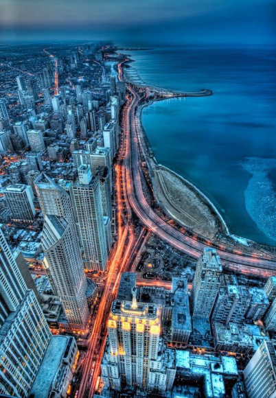 Chicago city night view