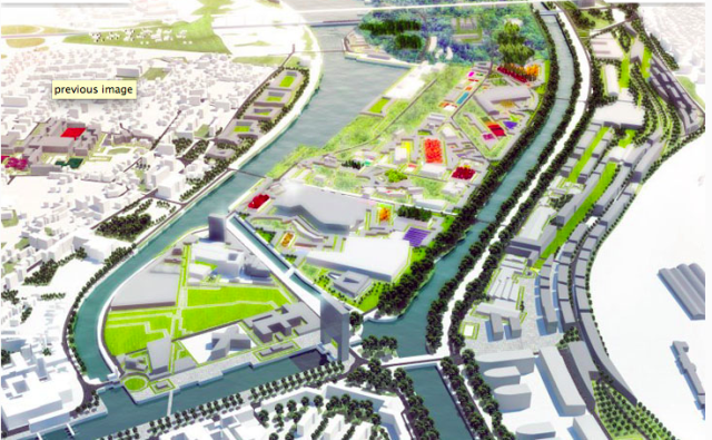 MVRDV plan to transform an industrial area in a beautiful green area for port in Caen in Normandy