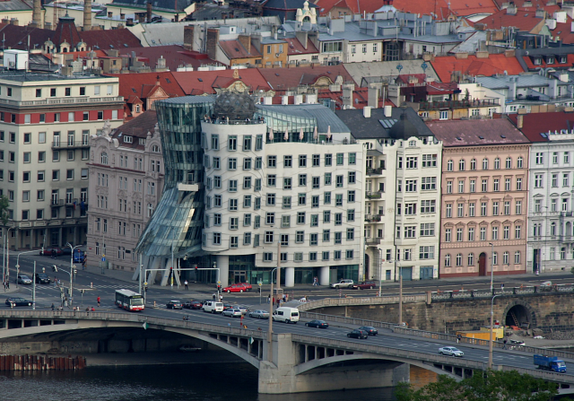 Dancing house in Prague. One of the most controversial buildings in Prague, because it's in the historical centre near historical buildings