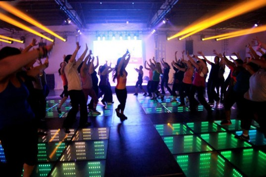 Kinetic floors in the nightclub! The LED-lit floor converts dancers' moves into usable electricity.