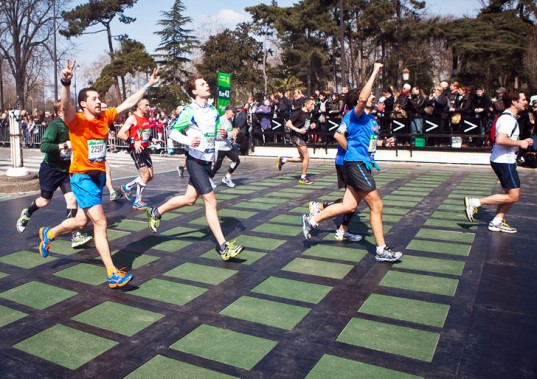 Kinetic Energy-Harvesting Tiles Generate Power from Paris Marathon Runners