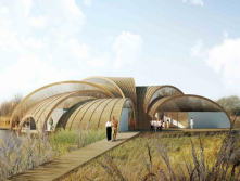 Great Fen Visitor Center, a wooden sustainable structure set halfway between the wetlands and dry lands in Cambridgeshire, UK<br/>