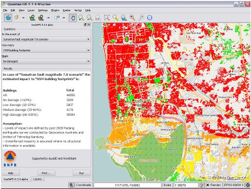 In Jakarta in Indonesia, crowdsourcing maps built an earthquake hazard map to show impact of earthquake using inaSAFE and openstreetmap