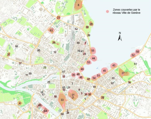 Anonyme and for free wi-fi network in public parcs and buildings in Geneva. 70 access points provide coverage within a 50 meter radius each.