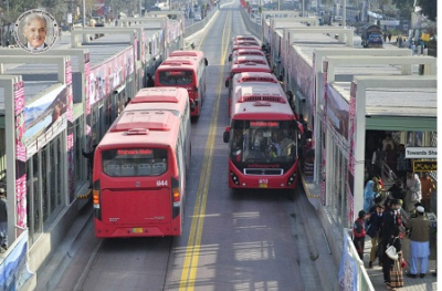 Lahore Metro Bus System with elevated bus corridor.