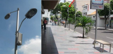 A commercial district in Colombia, use speakers on light poles to have music along the day (music was choose by a poll to the citizens)