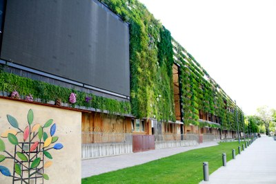 In Tarragona it was build a Smart Parc that uses vertical gardens to depurate the water from the sewage city system. The wall includes a TV.
