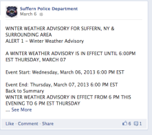 Village police dept uses social media to notify citizens of weather alerts.