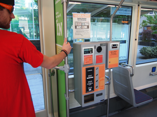 On-board payment options on Seattle's Trolley.