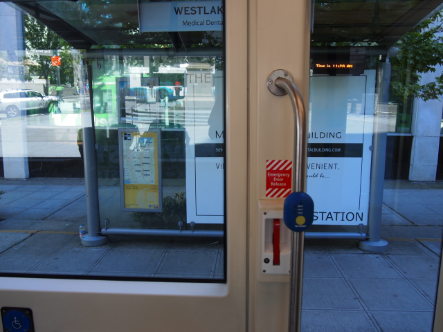 Waiting area shelters with electronic ticker allows for route notifications