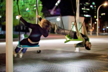 Fiber-optic-linked swings in Montreal, each of which triggers sounds from a different musical instrument.