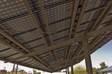 These solar panels at Temple Emanu-El in Tucson, Arizona generate power and provide shade for the parking lot.