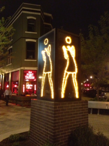 "Technology used as public art...this ""dancing lady"" sways back and forth on a street corner in downtown Indianapolis."