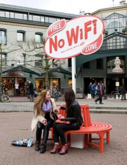 "In Amsterdam, Kit Kat introduced a wifi jammer to prevent wifi signals in a small area to provide a digital ""green space"" to relax"
