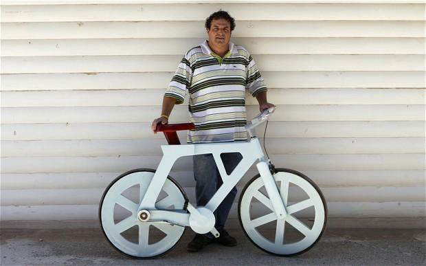 Cardboard bike.  http://www.telegraph.co.uk/news/worldnews/africaandindianocean/9609146/Cardboard-bike-is-a-game-changer-in-Africa.html