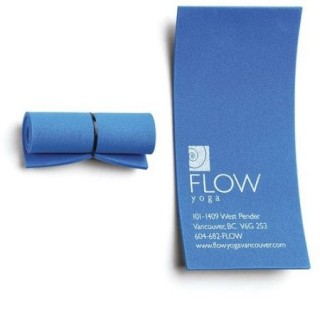 Unroll this tiny yoga mat and it is a business card.
