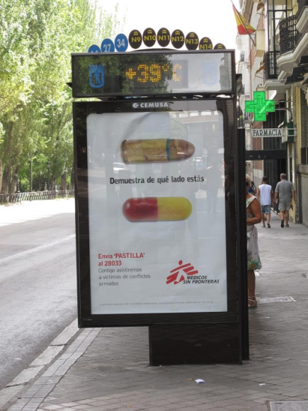 I suppose it's quite usual to find this kind of sensors everywhere. Bus stops are becoming really interactive in Madrid.