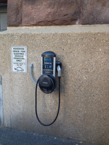 Charge point for electric vehicles, at city hall.