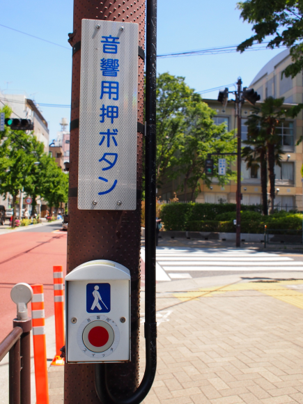 This is sensor button set to road signal which switch on sound which lead blind person. (Tokyo)
