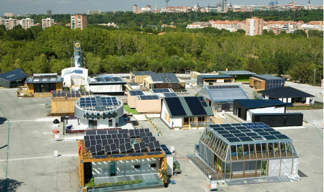 International university competition. Promotes the research in the development of solar and efficient houses: Solar Decathlon Europe 2012.
