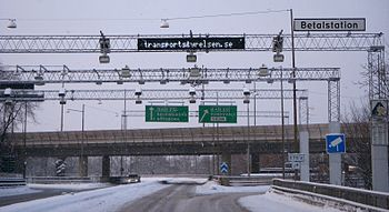 Road toll system in Stockholm that allows drivers to get through without stopping and paying.