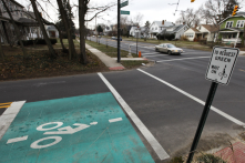 With the increased bicycle ridership in Columbus, they are implementing sensors for traffic lights (similar to those for cars)